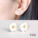 925純銀 櫻花金蕊 櫻花物語耳環-FiDA