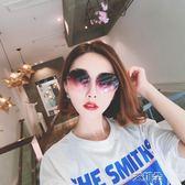 墨鏡圓形墨鏡女韓版無框水晶切邊時尚氣質防紫外線太陽鏡    艾維朵