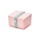 Uhmm Folding No.02 12x10cm 丹麥生活系列 環保折疊式 方形 點心盒 - 薄荷綠束帶款(粉紅色餐盒)
