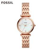 Fossil CARLIE MINI 玫瑰金迷你不鏽鋼鍊錶 女 ES4429