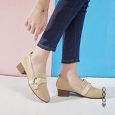 小香風單鞋女中跟2020春季新款百搭網紅方頭粗跟奶奶鞋溫柔晚晚鞋 OO9213『黑色妹妹』