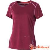 Wildland 荒野 0A51603-12暗紅 女圓領雙色排汗抗UV上衣 抗紫外線/涼爽散熱/吸濕快乾/登山旅遊