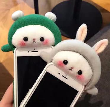 冬季趴趴毛绒兔子iphone7 plus可愛雞動物6s防摔 iphone6s plus 保護套
