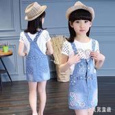 女童牛仔背帶裙 2019新款韓版潮夏裝洋氣中大童兒童女孩吊帶洋裝 QX10784 『寶貝兒童裝』
