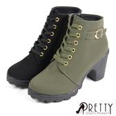 BA-23081 女款粗高跟短靴 時尚穿搭綁帶內側拉鍊防水台粗高跟短靴【PRETTY】