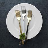 叉子 創意黑金不銹鋼西餐餐具套裝餐叉 家用意面牛排主餐叉   LannaS