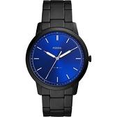 FOSSIL Minimalist 薄型簡約手錶-藍x鍍黑/44mm FS5693