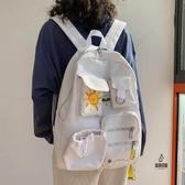 後背包大容量日系多口袋帆布書包女【愛物及屋】