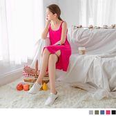 OB嚴選《DA4613-》多色交叉美背開衩下襬設計彈性洋裝.5色--適 S~XL