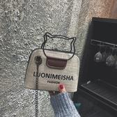 手提包 港風包包2019女新款撞色字母貝殼包複古單肩手提小包斜挎鏈條女包