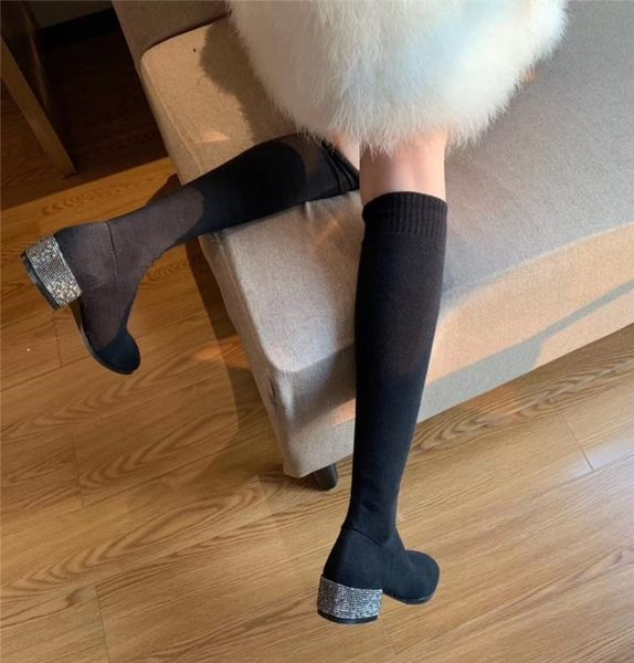 小個子長靴襪靴女靴子春秋季短靴中筒粗跟襪子靴女過膝靴長筒靴冬