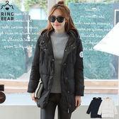 羽絨外套--俐落保暖禦寒防風立領連帽徽章雙口袋羽絨外套(白.黑L-4L)-J299眼圈熊中大尺碼