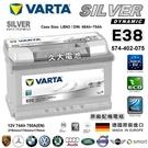 【久大電池】 德國進口 VARTA E38 74Ah 捷豹 積架 JAGUAR Xf 2.0 2012~2013