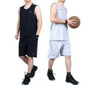夏季大碼純棉無袖籃球服運動套裝男士背心短褲加肥加大健身跑步潮【尾牙交換禮物】