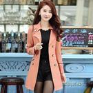 季新品韓版修身大碼雙排扣風衣外套「時尚彩虹屋」