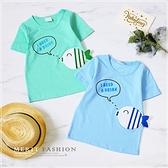 藍 可愛小魚快樂游泳英字母短T 男童 春夏 短袖 上衣 T恤