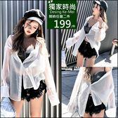 克妹Ke-Mei【AT47372】韓妞最愛 辛辣性感透視立領口袋襯杉罩杉外套