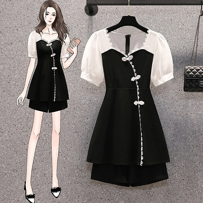 M-4XLD洋裝~大碼女裝夏洋氣減齡胖MM復古改良修身短袖兩件套現貨2F043-A胖妹大碼女裝