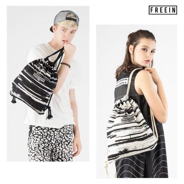 束口袋 FREEIN 原創設計黑白印花抽繩包包涂鴉束口袋女雙肩背布包上新【韓國時尚週】