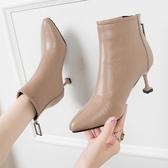 鞋子女秋冬潮鞋新款高跟細跟女靴子尖頭短靴后拉鏈馬丁靴女鞋單靴 星河光年