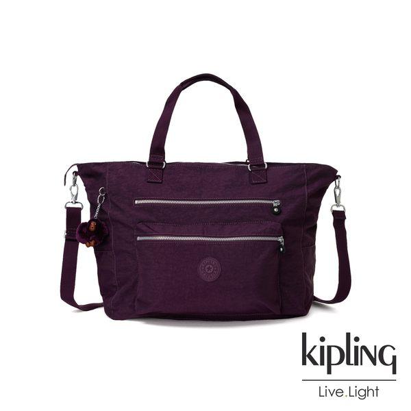 Kipling 深紫素面雙拉鍊手提側背包-ISAAC
