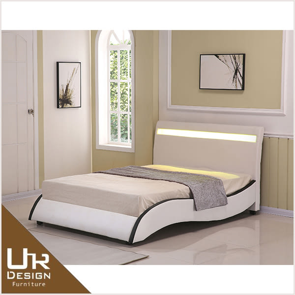 現代風安琪拉5尺米白皮雙人床(18Z06/055-1)