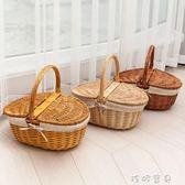 野餐籃收納籃野餐籃子帶蓋藤編手提籃田園編織保潔籃禮品水果購物花籃YYS 珍妮寶貝