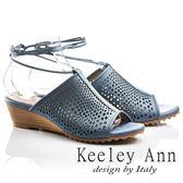★2017春夏★Keeley Ann年代風華~復古時尚穆勒鏤空腳踝綁帶全真皮楔形涼鞋(藍色)