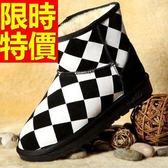 短筒雪靴-黑白格紋秋冬新款潮流皮革女靴子1色62p26[巴黎精品]