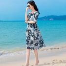 2021春夏季新款花色圓領中長款杭州仿真絲連衣裙收腰印花雪紡裙女 快速出貨