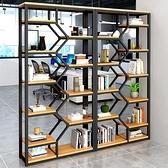 書櫃 置物架落地多層辦公室隔斷簡約組合架子客廳玄關櫃鋼木書架展示架 MJ8號店