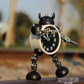 鬧鐘 變形機器人鬧鐘創意學生小鬧鐘可愛兒童卡通鬧鐘台鐘座鐘金屬鬧錶  下標免運