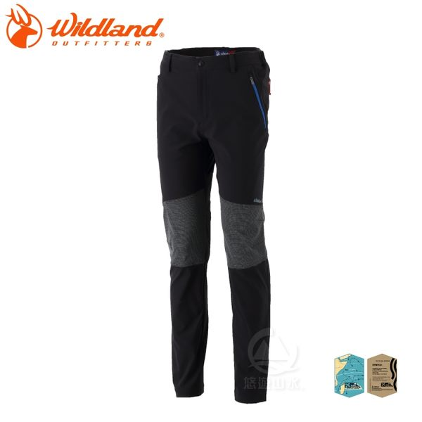 【Wildland 荒野 男 RE彈性拼接耐磨長褲《黑》】0A32362-54/彈性/口袋長褲/休閒褲
