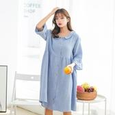 長款寬鬆睡裙夏季女士純棉紗布短袖花邊開衫加大孕婦家居服睡衣薄
