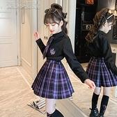 水手服裙女童女童套裝裙春秋裝洋氣女孩襯衫學院風兒童JK制服百褶裙兩件套10日 快速出貨