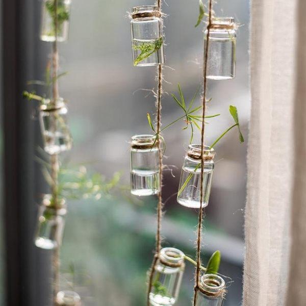 風鈴玻璃瓶串裝飾掛件吊飾門簾水培植物花器綠植風鈴森繫北歐    提拉米蘇