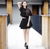 洋裝2019夏裝韓版女學生寬鬆百搭蝙蝠衫圓領短袖連身裙兩件套裝新款LZ2461【甜心小妮童裝】