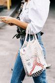 網編提袋 超火的漁網包袋購物袋鏤空編織手提斜跨單肩包環保沙灘包 綠光森林