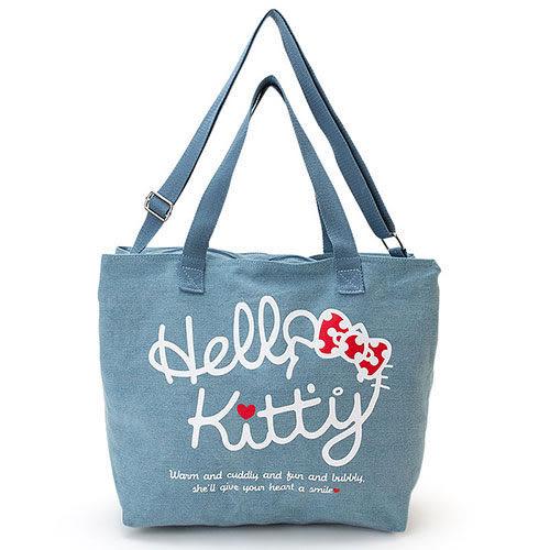【震撼精品百貨】Hello Kitty 凱蒂貓~HELLO KITTY牛仔布大尺寸側背提袋(LOGO躲貓貓)
