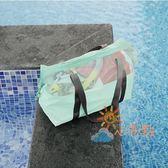 乾濕包旅行游泳包干濕分離沙灘包女便攜透明收納包網眼大容量旅行收納袋萊爾富免運