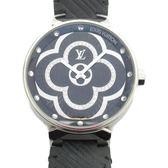 LV LOUIS VUITTON 路易威登 黑色漆面鑲鑽錶盤黑色牛皮錶帶 TAMBOUR MOON DIVINE35