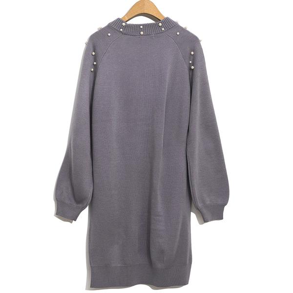 秋冬下殺↘5折[H2O]圓領釘珠設計中長版針織毛衣洋裝 - 紫/米白/灰色 #9650010