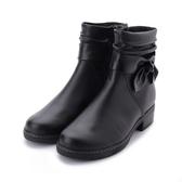 德國GABOR 牛皮皺褶側結低跟短靴 黑 92.721.57 女鞋