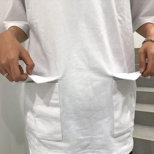 找到自己 MD 日系 潮 街頭 男女 情侶裝 寬鬆 五分袖 純色素面 雙口袋 短袖T恤 特色短T