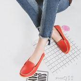 豆豆鞋休閒淺口平底牛筋底媽媽皮鞋圓頭平跟軟底孕婦單鞋女鞋  【PINK Q】