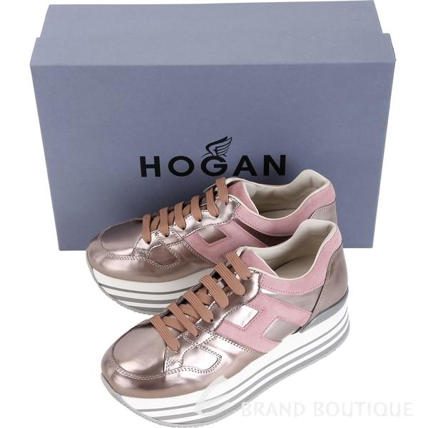 HOGAN Maxi H222 H 麂皮拼接厚底繫帶休閒鞋(香檳粉) 1840087-24