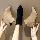 靴子女2020新款春秋季時尚尖頭亮片細跟高跟鞋女士網紅短靴女瘦瘦靴 蘿莉小腳丫