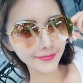 太陽鏡女防紫外線 網紅眼鏡韓版潮 街拍大臉顯瘦開車防曬無框墨鏡【墨城家居】