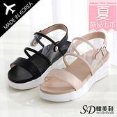 韓國空運 版型正常 時尚韓妞 透明裸膚感 造形雙帶 雙層舒壓厚底涼鞋【F713038】2色 SD韓美鞋
