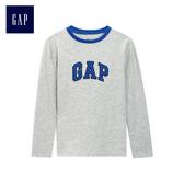 Gap男童 logo簡約長袖T恤 497331-淺麻灰